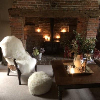 British Sheepskin Pouffe in Ivory