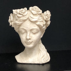Flower Girl Bust in Cream Resin - sculptured with flowers around her head
