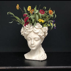 Flower Girl Bust in Cream Resin - sculptured with flowers around her head, Featured with a summer faux floral display