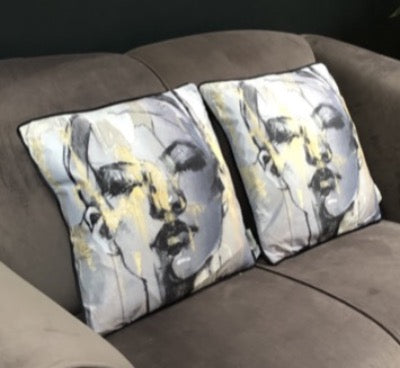 Sketched Female Figure Velvet Cushion