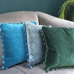 Green Velvet Cushion with Pom Poms