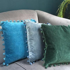 Teal Velvet Pom Pom cotton Cushion, and filling