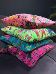 Birds of Paradise Velvet Cushions, Pink, Cerise, Lime Green, Blue