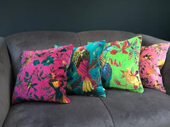 Gladys & Charles, Birds of paradise, coral pink, soft cotton velvet cushion