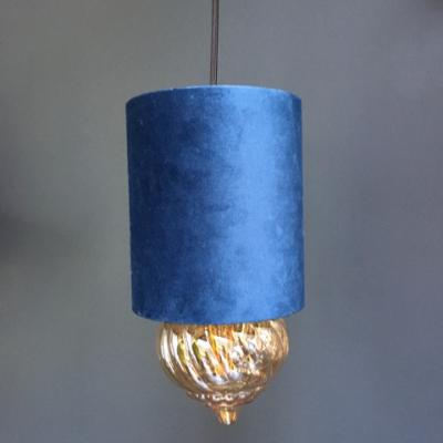 Velour Cylinder Lamp Shade in Petrol Blue