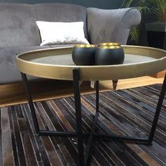 Tortola Coffee Table in Bronze and Black Metal