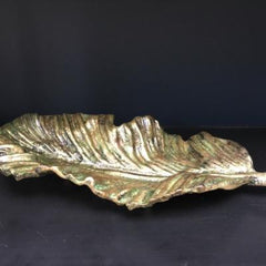Rialto antique green decorative leaf platter, sculpture platter, elegant, imposing, opulent