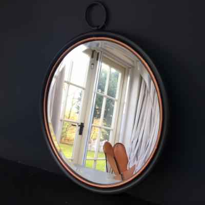 Ideal mirror, black and copper, metal, round mirror