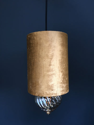 Velour Cylinder Lamp Shade Gold