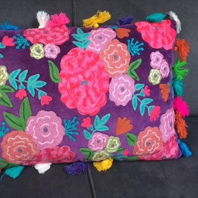 Glady & Charles, Purple velvet hand embroidered roses filled cushion with multi coloured tassels