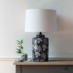 Table Lamp Chinois Villages With White Shade