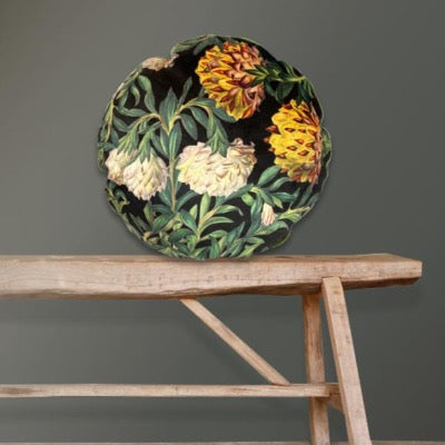 Exotic Flower Velvet Round Cushion