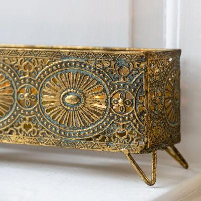 Aztec Votive Box Antique Gold Filigree