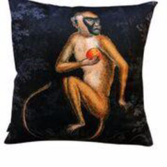 Gladys & Charles, Fruit Monkey Black Velvet Cushion, by VanillaFly, 50x50cm