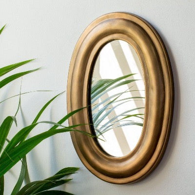 Oval Mirror Antique Brass Finish