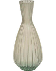 Gladys & Charles, Riya Ribbed Tapered Vase, Taupe, Large, recycled glass