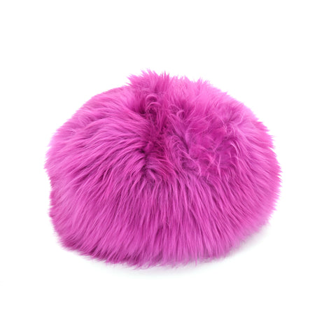 Gladys & Charles, Sheepskin poufee and footstool in cerise, pink, british sheepskin