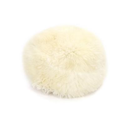 Gladys & Charles, British Sheepskin poufee and footstool in Ivory, british sheepskin