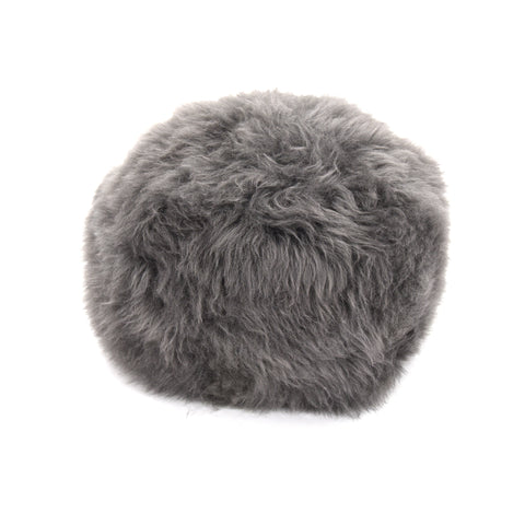 Gladys & Charles, British Sheepskin poufee and footstool in Slate, British sheepskin