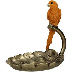 Carnaby Orange Parrot Trinket Dish.Intricately designed in an elaborate baroque style and cast in resin creates a captivating trinket tray and sculpture.