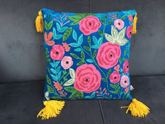 Gladys & Charles, Blue Roses Embroidered Velvet Cushion, with yellow thick tassels