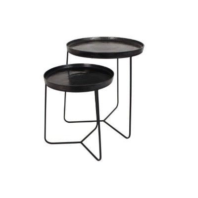 Black Metal Side Tables, Set of 2