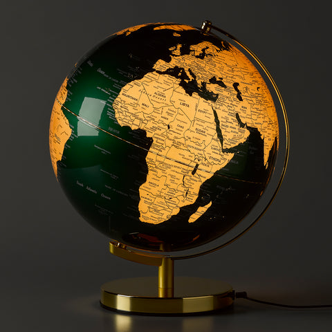 "Globe light Fir Green & Brass 12"" LED"