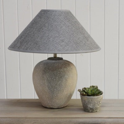 Lamp Ceramic Nero with Grey Shade