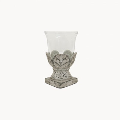 Birkdale Stone Leaf Hurricane, candle holder, small
