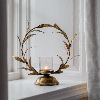 Candleholder Golden Laurel Leaf