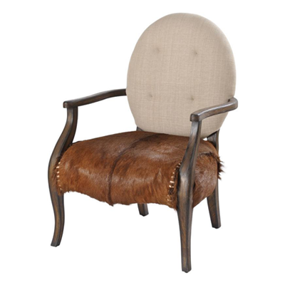 A unique, traditionally styled wooden occasional chair that combines a bang-on-trend goatskin seat with contrasting cream fabric back.