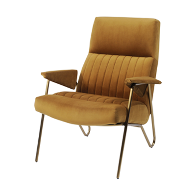 Retro occasional chair, mustard yellow velvet fabric with hint of gold.