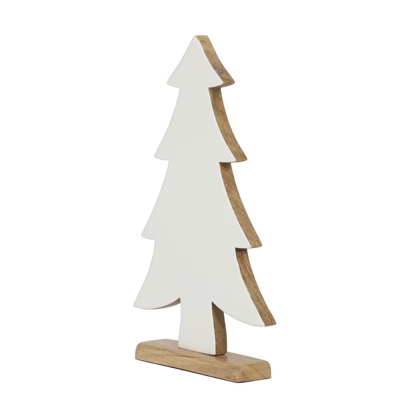 Christmas Tree ornament, white enamel and wood base