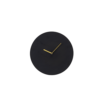 Waiwo circular wall clock, matt black, brass arms