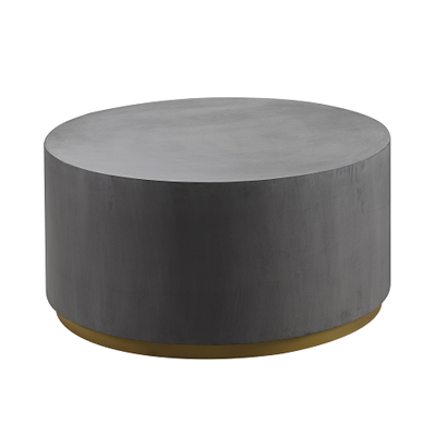 Grey concrete round coffee table with brass base