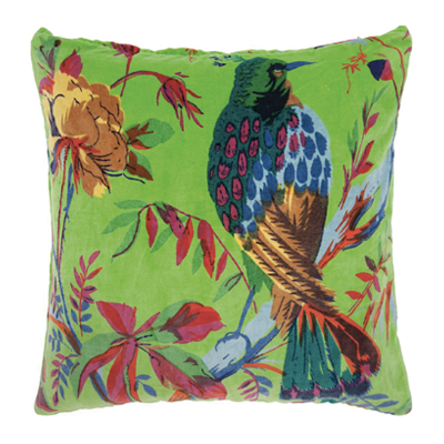 Vibrant Bright green velvet, birds of paradise print, cotton, feather inner, cushions