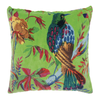 Bright green velvet, birds of paradise print, cotton, feather inner, cushions