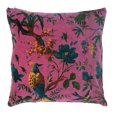 Cerise, bird of paradise print, velvet cushions, feather inner