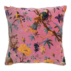 Gladys & Charles, Birds of paradise print, coral pink, cotton soft velvet cushion
