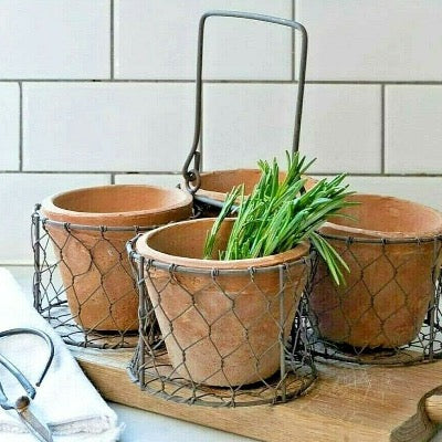 Wire basket with a set of 4 redstone pots,  rustic table centre piece