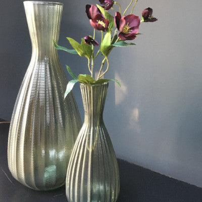 Riya ribbed tapered vase, taupe, medium, 100% European recycled glass
