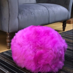 Gladys & Charles, British Sheepskin poufee and footstool in cerise, pink, british sheepskin