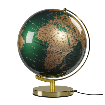 globe light lamp fir green and brass