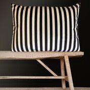 Gladys & Charles Black and Cream Stripe Velvet Cushion, by Vanillafly, 40x80cm