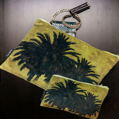 Velvet Makeup Bag & Pouch, Mustard Palm. Velvet outer, cream cotton lining, zip opener