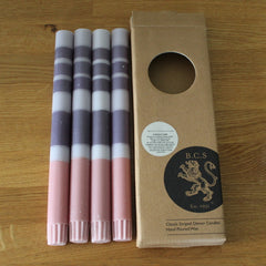 Striped Gull, Gunmetal Grey & Old Rose Eco Dinner Candles, 4 per pack