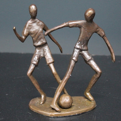 Two Footballers Solid Bronze Sculpture