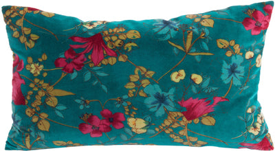 Teal Desire Cotton Velvet Cushion. Decorated with beautiful colours in a painterly flower and leaf design. Country leanings but contemporary in execution.