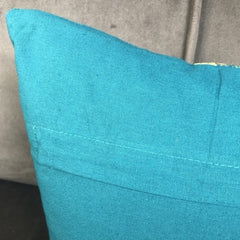 Teal Desire Cotton Velvet Cushion.  Reverse side is plain teal with horizontal zip for cover removal.