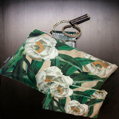 Velvet Makeup Bag & Pouch, White Floral.  Cream background with vibrant white flowers and green leaves.